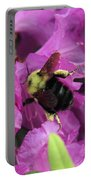 Busy Bee Collecting Pollen On Rhododendron  Portable Battery Charger