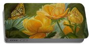 Butterfly Among Yellow Flowers Portable Battery Charger