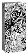 Butterfly And Flowers, Doodles Portable Battery Charger
