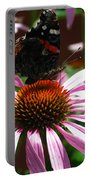Butterfly And Pink Cone Flower Portable Battery Charger