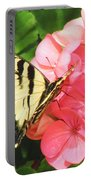 Butterfly And The Geranium Portable Battery Charger