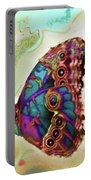 Butterfly In Beige And Teal Portable Battery Charger