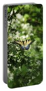 Butterfly In Muted Green Background Portable Battery Charger