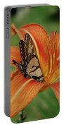 Butterfly On A Blooming Orange Daylily Flower Blossom Portable Battery Charger