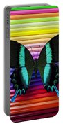 Butterfly On Colored Pencils Portable Battery Charger