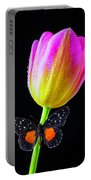 Butterfly On Yellow Pink Tulip Portable Battery Charger