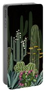 Cactus Garden At Night Portable Battery Charger