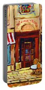 Cafe De Vieux Montreal With Couple Portable Battery Charger by Carole Spandau