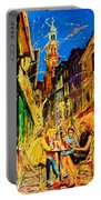 Cafe Of Amsterdam At Night  Portable Battery Charger
