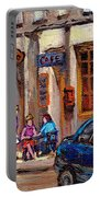 Outdoor Cafe Painting Vieux Montreal City Scenes Best Original Old Montreal Quebec Art Portable Battery Charger