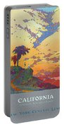 California - America's Vacation Land And New York Central Lines - Retro Travel Poster - Vintage Portable Battery Charger