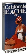 California Beaches - Girl On A Beach - Retro Poster - Vintage Advertising Poster Portable Battery Charger