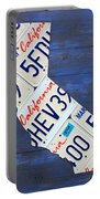 California License Plate Map On Blue Portable Battery Charger by Design Turnpike