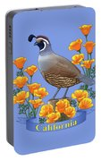 California Quail And Golden Poppies Portable Battery Charger