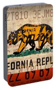 California State Flag Recycled Vintage License Plate Art Portable Battery Charger