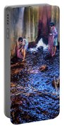 Cambodian Boys Netting Fish Portable Battery Charger