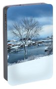 Camden Harbor In The Snow Portable Battery Charger