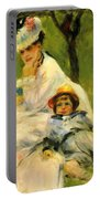 Camille Monet And Her Son Jean In The Garden At Argenteuil 1874 Portable Battery Charger