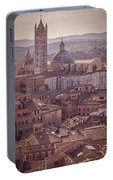 Campanile And Cathedral In Siena Italy Antique Matte Portable Battery Charger