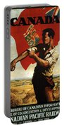 Canada - Canadian Pacific Railway - Flag - Retro Travel Poster - Vintage Poster Portable Battery Charger
