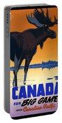Canada For Big Game Travel Canadian Pacific - Moose - Retro Travel Poster - Vintage Poster Portable Battery Charger