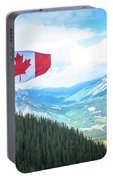 Canadian Flag Over Banff Portable Battery Charger