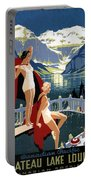 Canadian Pacific - Chateau Lake Louise - Canadian Rockies - Retro Travel Poster - Vintage Poster Portable Battery Charger