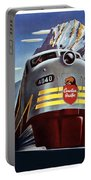 Canadian Pacific - Railroad Engine, Mountains - Retro Travel Poster - Vintage Poster Portable Battery Charger