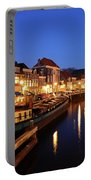 Canal Thorbeckegracht In Zwolle At Dusk With Boats Portable Battery Charger