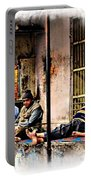 Candid Bored Yawn Pj Exotic Travel Blue City Streets India Rajasthan 1a Portable Battery Charger