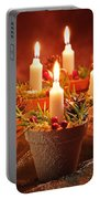 Candles In Terracotta Pots Portable Battery Charger by Amanda Elwell