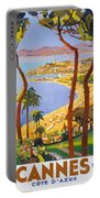 Cannes Vintage Travel Poster Portable Battery Charger
