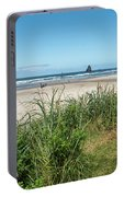 Cannon Beach And Purple Bloom Portable Battery Charger