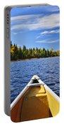 Canoe Bow On Lake Portable Battery Charger