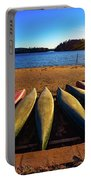 Canoes At Sunset Portable Battery Charger