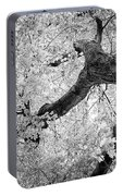 Canopy Of Autumn Leaves In Black And White Portable Battery Charger