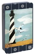Cape Hatteras Lighthouse - Ship Wheel Border Portable Battery Charger