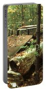 Car Wreck In The Forest Portable Battery Charger