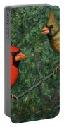 Cardinal Couple Portable Battery Charger by James W Johnson