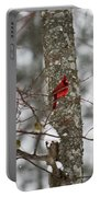 Cardinal In Snow Storm Portable Battery Charger