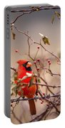 Cardinal With A Mouthful Of Hips Portable Battery Charger