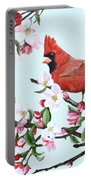 Cardinals And Apple Blossoms Portable Battery Charger