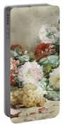 Carnations, Roses, Grapes And Peaches Portable Battery Charger