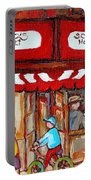 Carole Spandau Paints Montreal Memories - Montreal Landmarks - Schwartzs Hebrew Deli St. Laurent  Portable Battery Charger