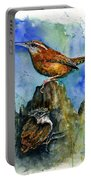 Carolina Wren And Baby Portable Battery Charger