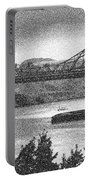 Carquinez Bridge Pointilized B And W Portable Battery Charger
