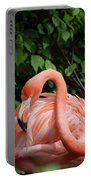 Carribean Flamingo Bird Ruffling His Feathers Portable Battery Charger