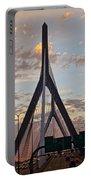 Cars On The Move- Lenny Zakim Bridge Sunset Portable Battery Charger