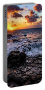 Cascading Water At Sunset Portable Battery Charger by John Hight