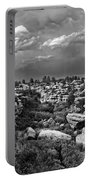 Castlewood Canyon And Storm - Black And White Portable Battery Charger
